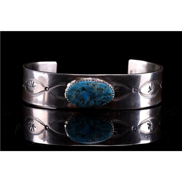 Navajo C.J. Butler Silver Turquoise Bracelet