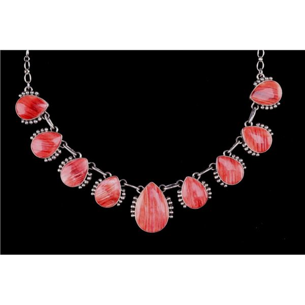 Navajo E. Richards Silver & Spiny Oyster Necklace
