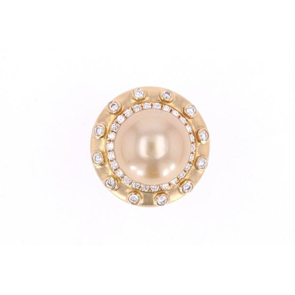 South Sea Pearl & Diamond 18k Yellow Gold Ring
