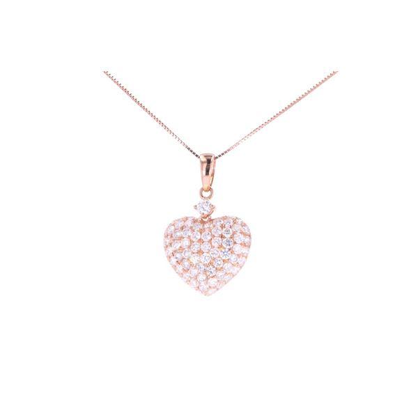 Brilliant Diamond 18k Rose Gold Heart Necklace