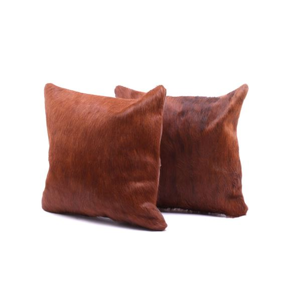 Red Angus Brown Cowhide Premium Pillow Set of Two