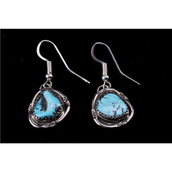 Navajo G Etcitty Silver Morenci Turquoise Earrings