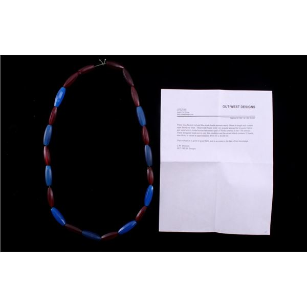 Rare Iroquois Long Faceted Red & Blue Trade Beads