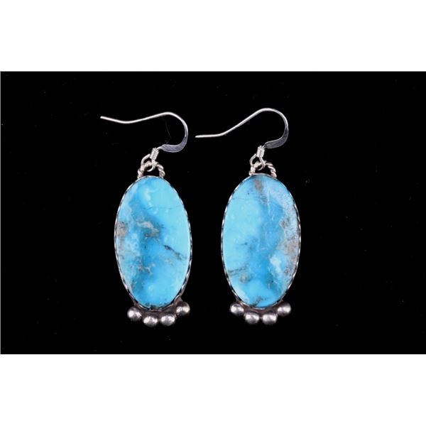 Acoma S. Warner Silver & Turquoise Earrings
