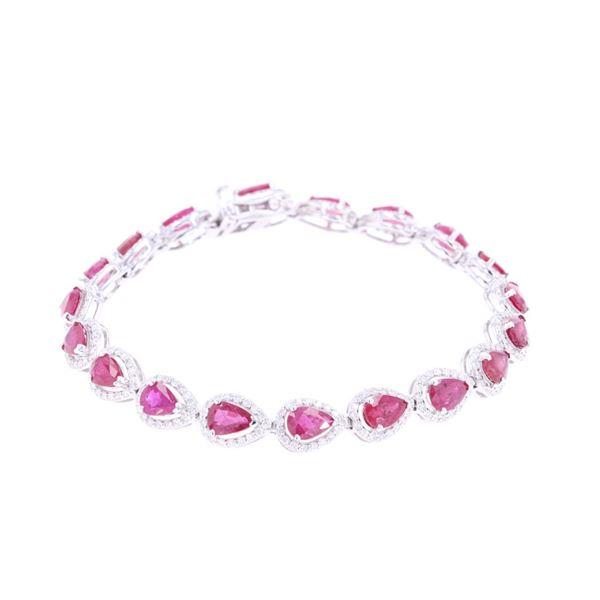Natural Ruby & Diamond Platinum Tennis Bracelet