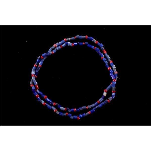 Cobalt Tublar & Red White Heart Bead Necklace.