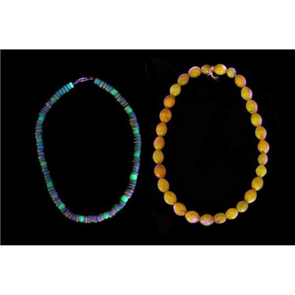 Dutch Vaseline Fluorescence Trade Bead Necklaces