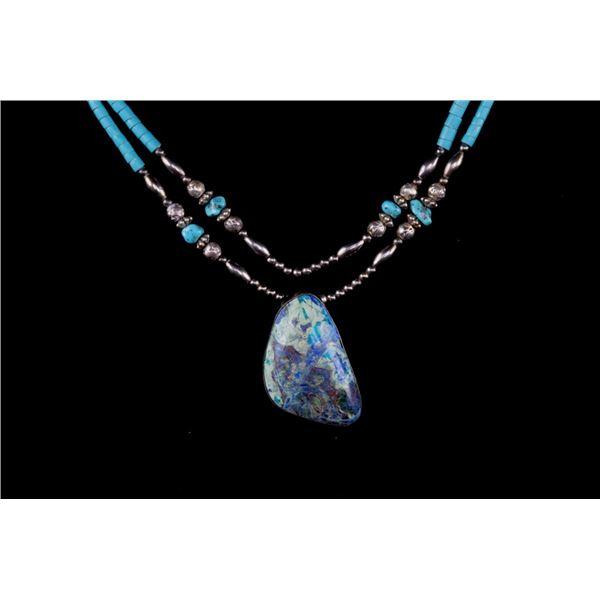 Navajo Silver Crysocolla Two Strand Necklace