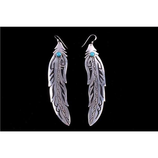 Navajo T Singer Sterling Silver Turquoise Earrings