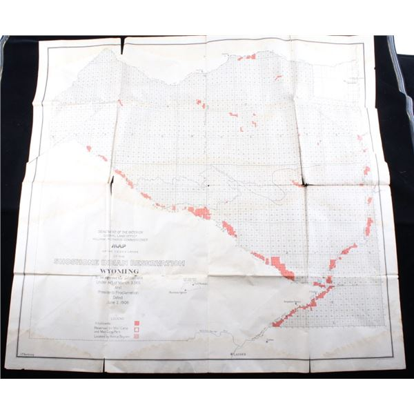 Shoshone Indian Reservation Wyoming Map c. 1905