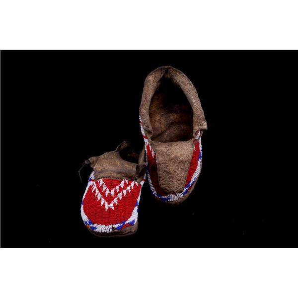 Sioux Fully Top Beaded Hard Soled Moccasins c1890