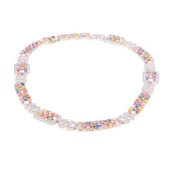 38.60 ct Multi-Colored Sapphire & Diamond Necklace