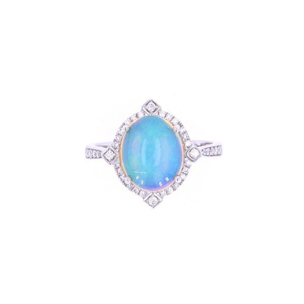 Ethiopian Opal & Diamond 14k White Gold Ring