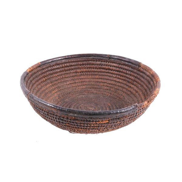 Seminole Indian Pine Needle Hand Woven Basket
