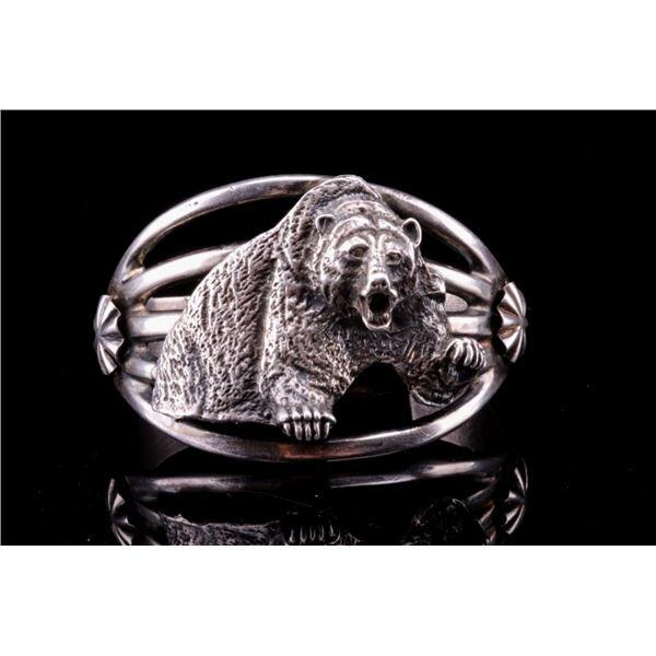 Navajo Sterling Silver Grizzly Bear Bracelet