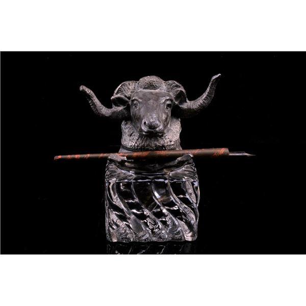 Rams Head Nickel & Glass Ink Well w/ Pen