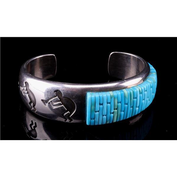 Navajo Sterling Silver Kokopelli Inlay Bracelet