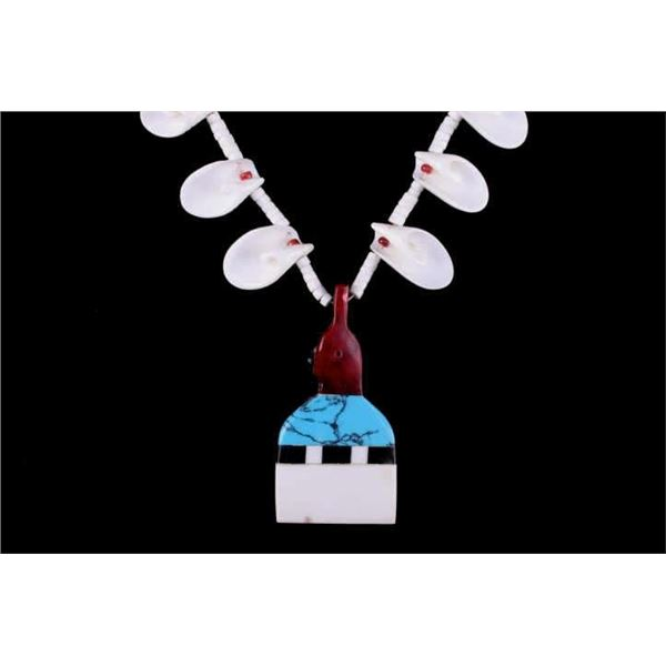 Navajo Inlaid Multistone Pendent & Shell Necklace