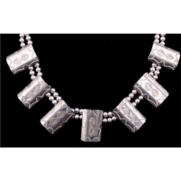 Navajo Old Pawn Silver Shield Banner Necklace
