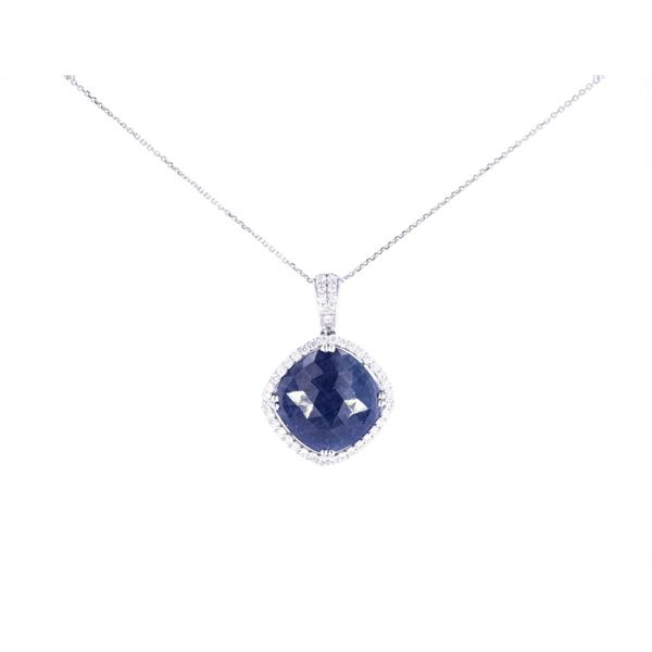Rare Unheated Blue Sapphire Diamond Necklace