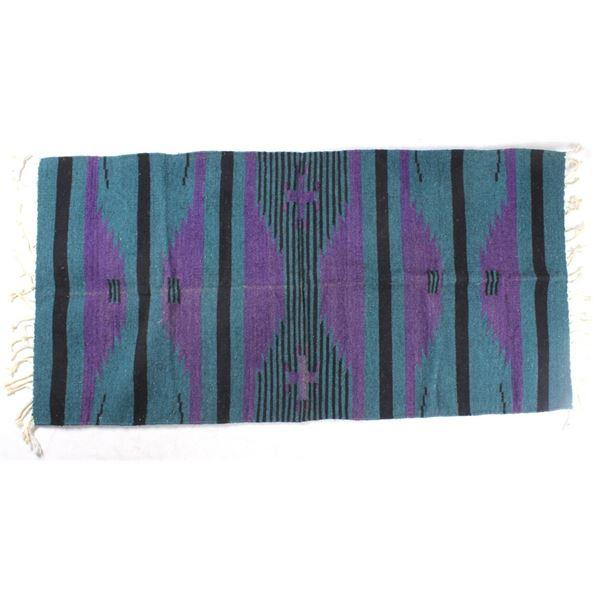 Montanitas Saltillo Teal Wool Zapotec Rug