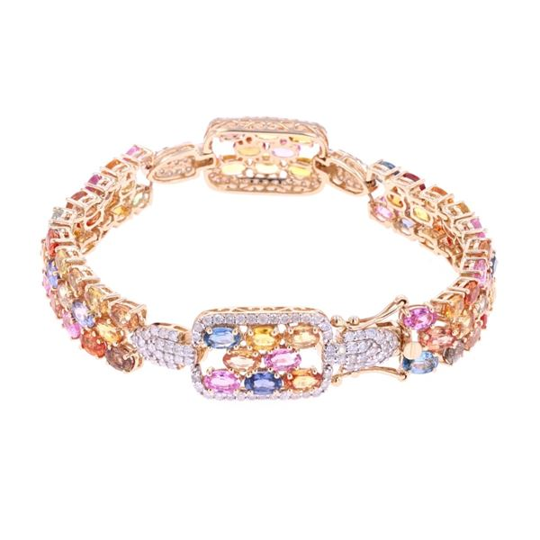 21.70 ct Multi-Colored Sapphire & Diamond Bracelet
