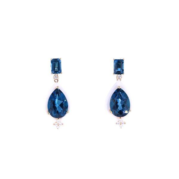 London Blue Topaz & White Agate Diamond Earrings