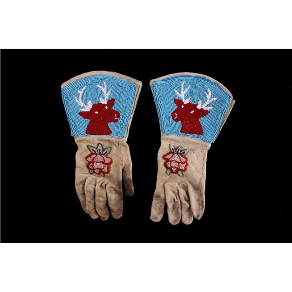 Shoshone Indian Beaded Leather Gauntlets c. 1950's