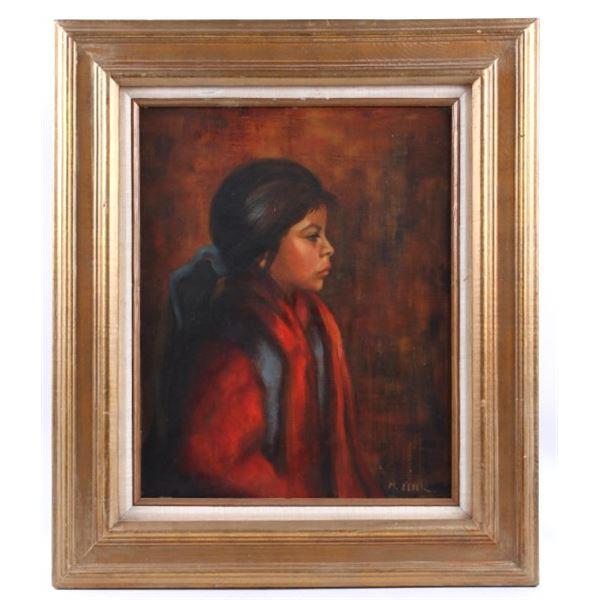 Signed Original Indian M. Elder Portrait Painting