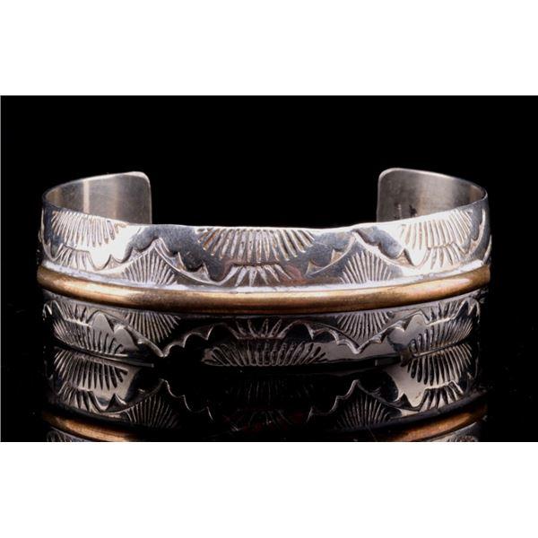 Navajo Feather Stamped Sterling Silver Bracelet