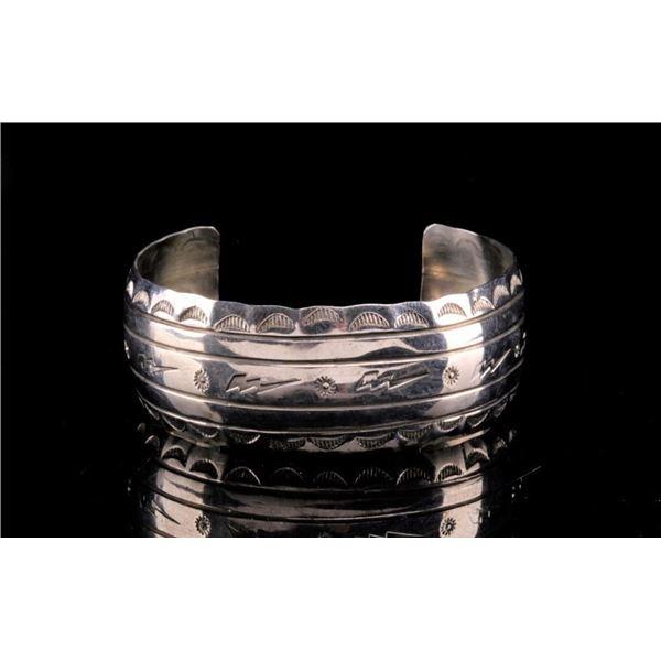 Navajo Silver Thunder Bolt Hand Stamped Bracelet