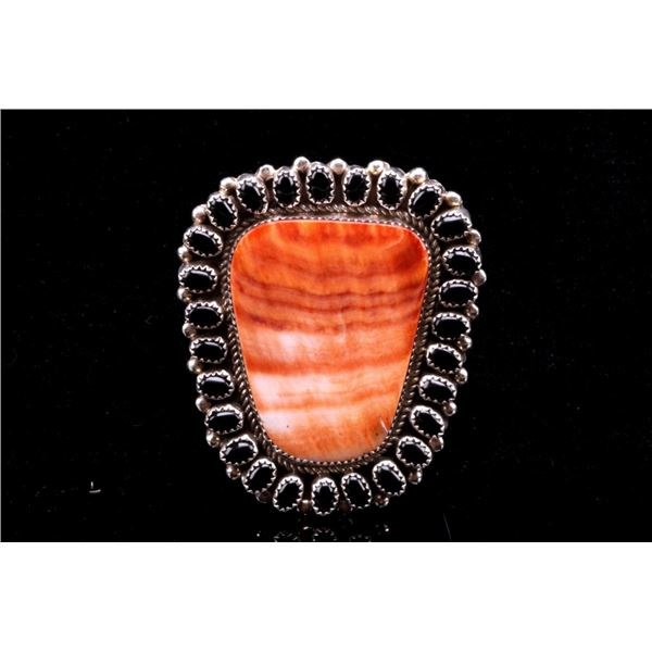 Navajo LARGE Sterling Silver Carnelian & Jet Ring