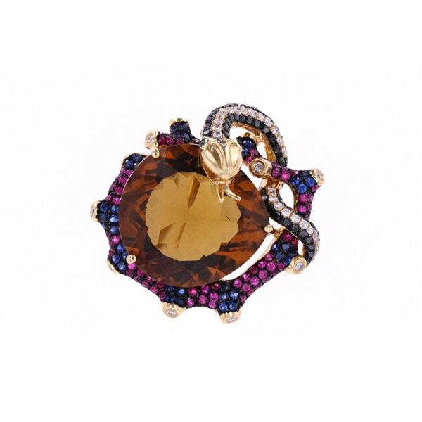 Champagne Quartz & Sapphire 18k Gold Snake Ring