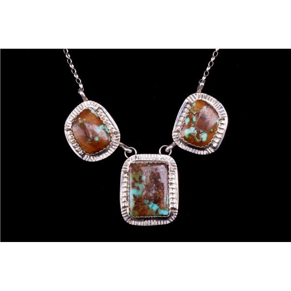 Navajo Silver King's Manassa Turquoise Necklace