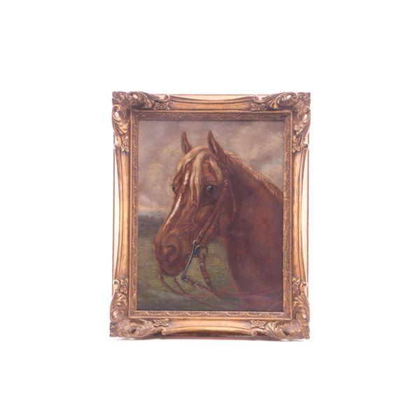 Flaxen Sorrel Quarter Horse Head Acrylic on Canvas