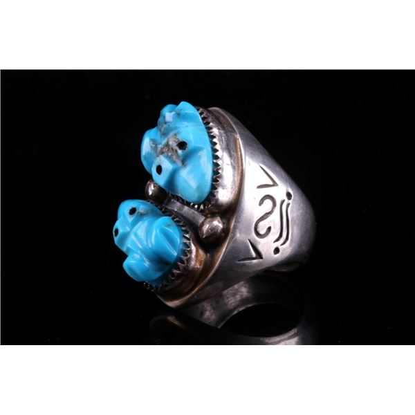 Navajo Sterling Silver & Turquoise Frog Ring