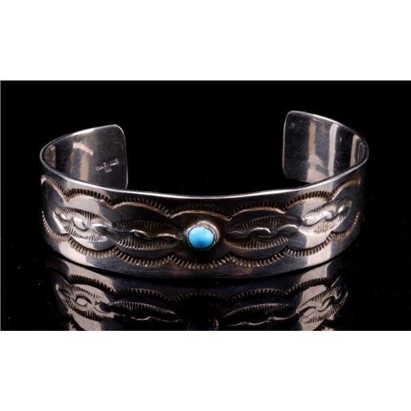 Navajo Sterling & Sleeping Beauty Signed Bracelet