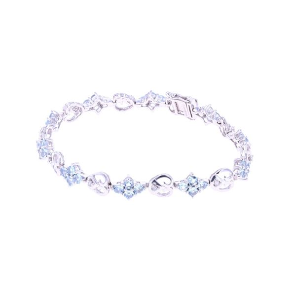 Aquamarine & Diamond 14k White Gold Bracelet