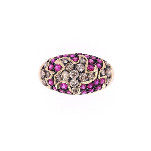 Vintage Topaz & Brown Diamond 14k Gold Ring