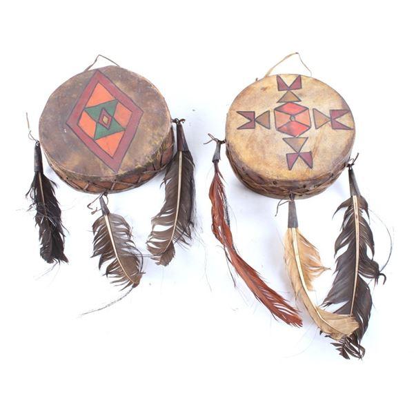 20th Century Plains Indian Polychrome Hide Drums
