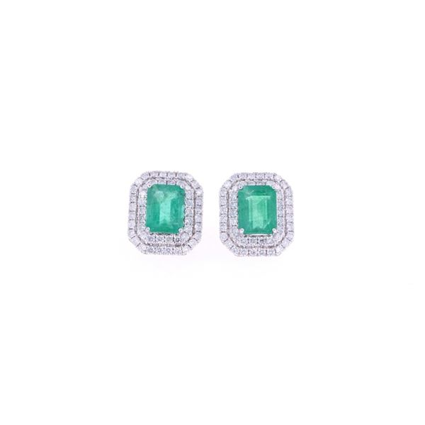 Classic 3.25ct Emerald & Diamond 14K Gold Earrings