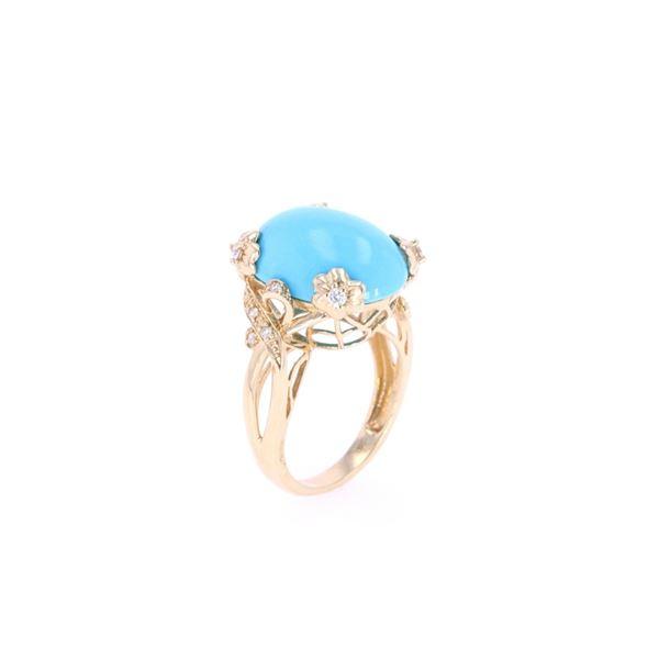 Turquoise & Diamond 14k Yellow Gold Ring