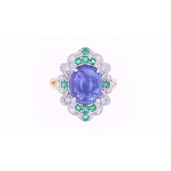 Tanzanite & Emerald Diamond 18k Gold Ring