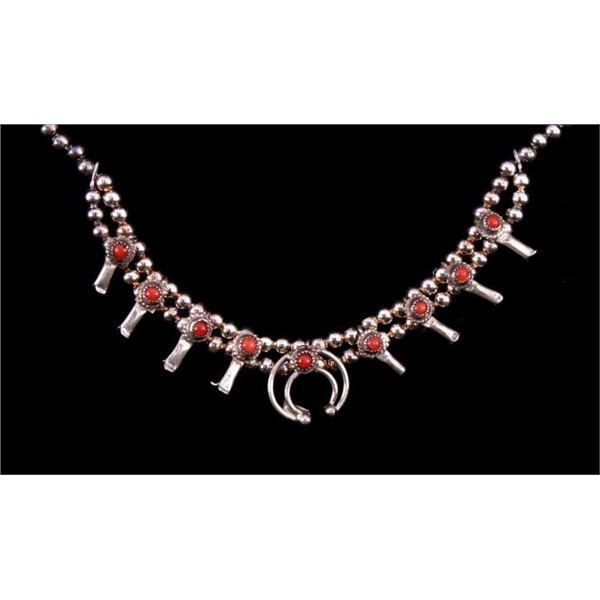 Navajo Sterling & Coral Squash Blossom Necklace