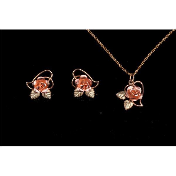Black Hills 10K Gold Rose Earrings & Necklace