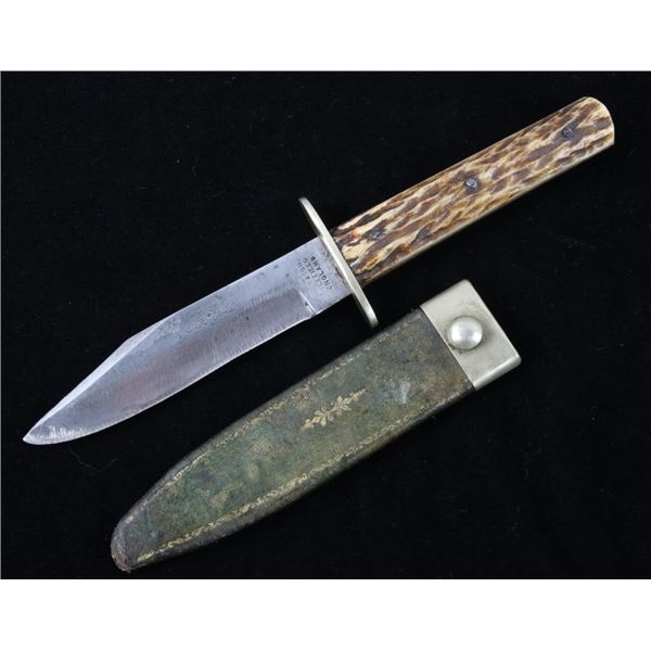 Sheffield Antler Handle Hunting Knife & Sheath