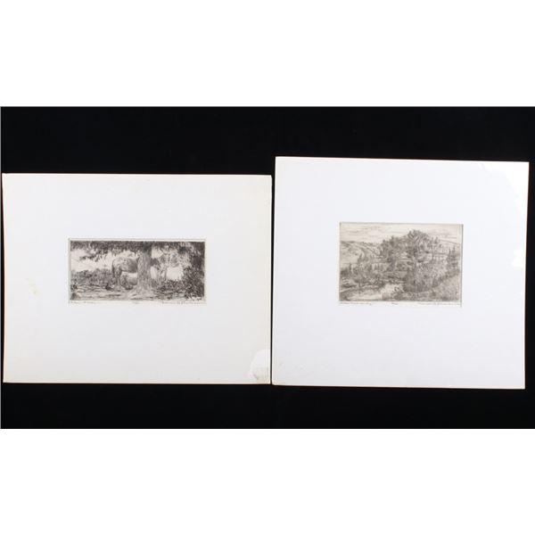 Bronson G. Stevenson Horse & Landscape Etchings