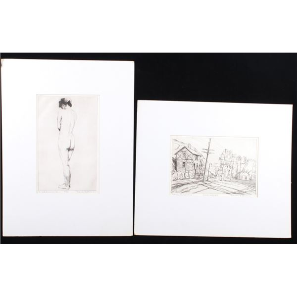 Bronson G. Stevenson Townscape & Nude Etchings