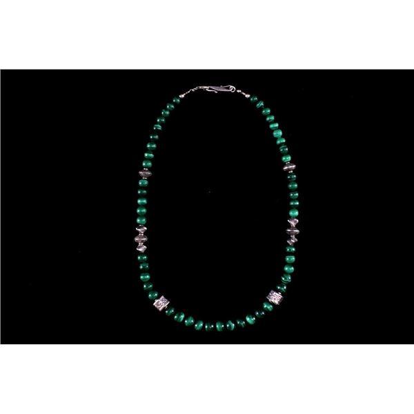 Navajo Sterling Silver & Malachite Necklace