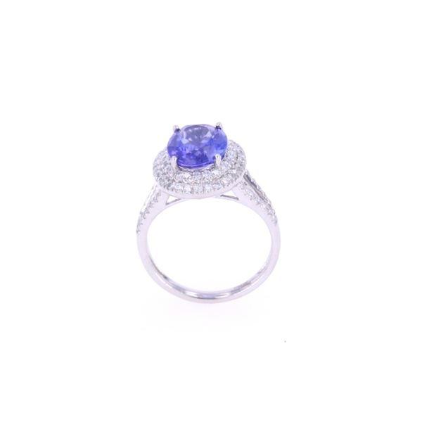 Opulent 3.10cts Tanzanite & Diamond Platinum Ring